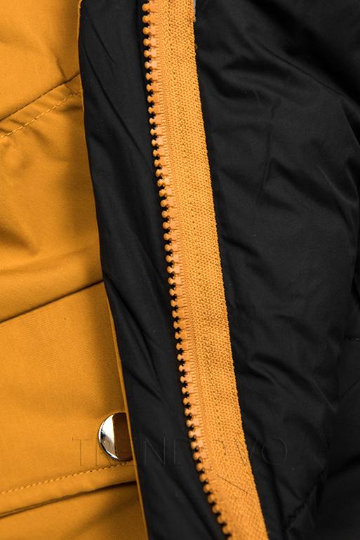 Prodloužená oboustranná parka žlutá/černá