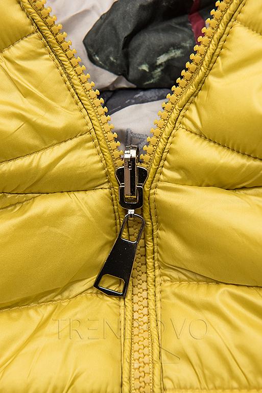 Žlutá prošívaná bunda s barevnou podšívkou