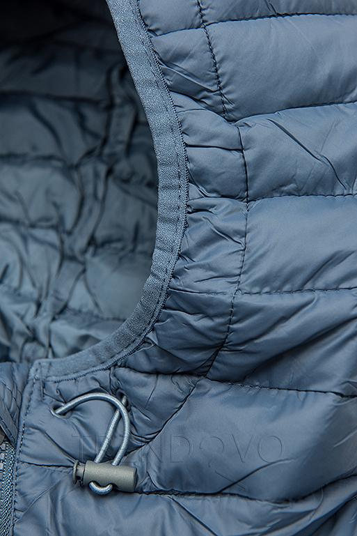 Jeans modrá prošívaná přechodná bunda