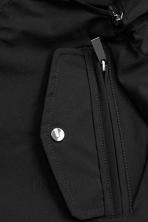 Přechodná parka oboustranná khaki/černá