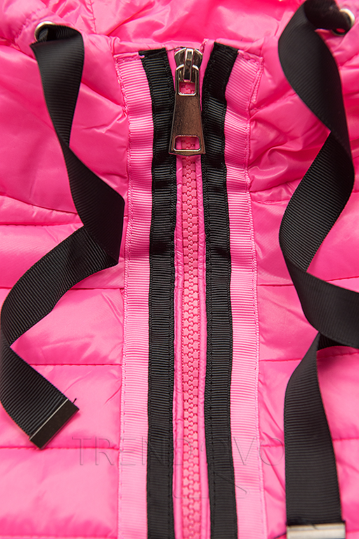 Růžová prošívaná lesklá bunda