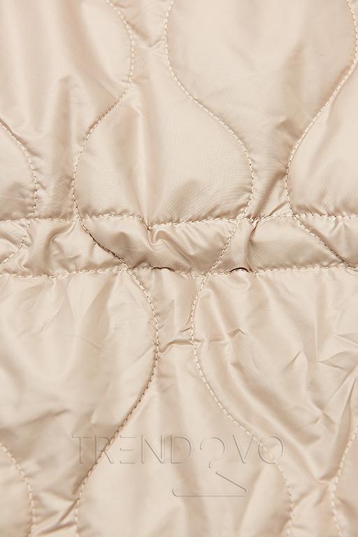 Béžová prošívaná bunda bez kapuce