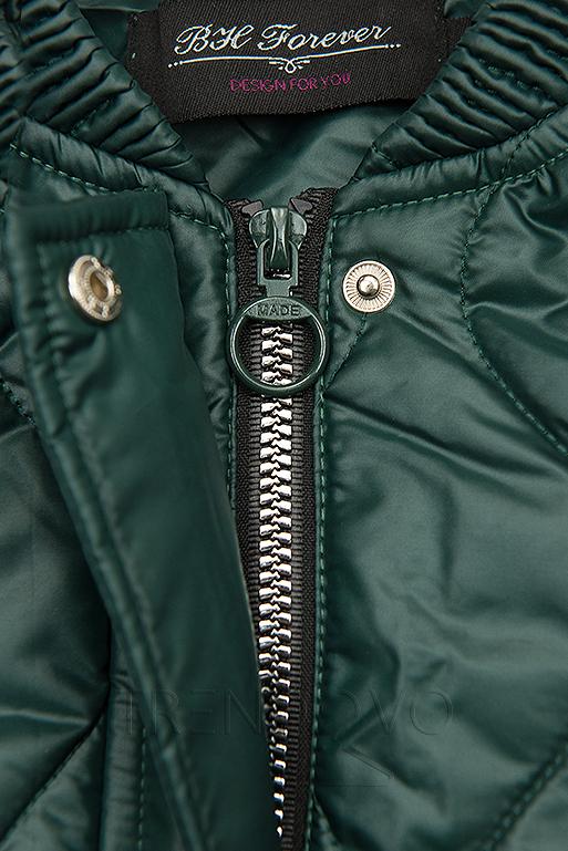 Zelená prošívaná bunda bez kapuce
