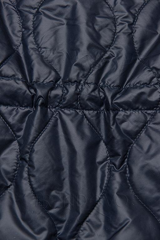 Tmavě modrá prošívaná bunda bez kapuce