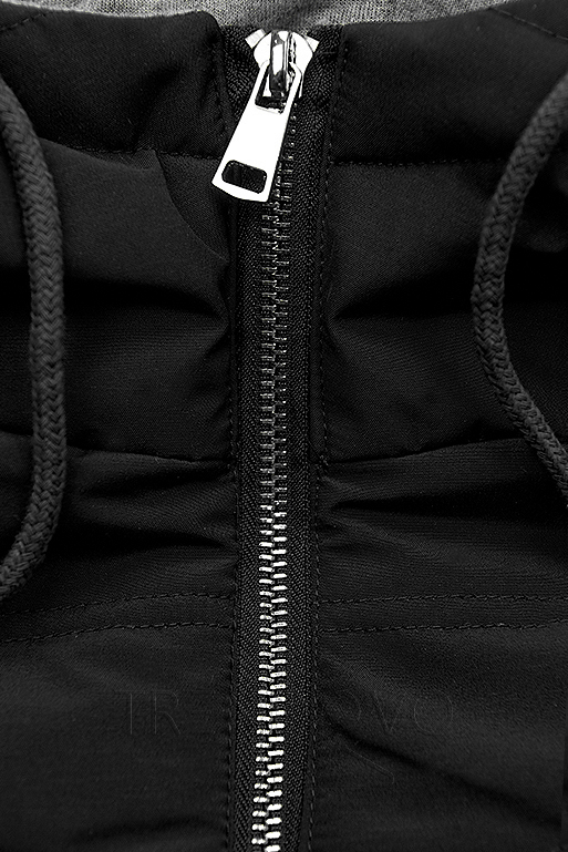 Černá prodloužená bunda s kapucí