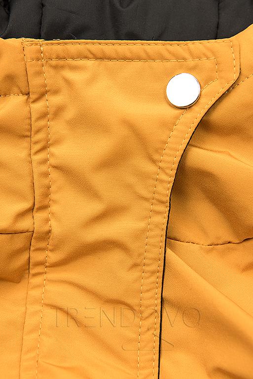 Oboustranná bunda se stahováním žlutá/černá