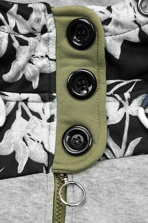 Khaki  prodloužená mikina s květinovým vzorem