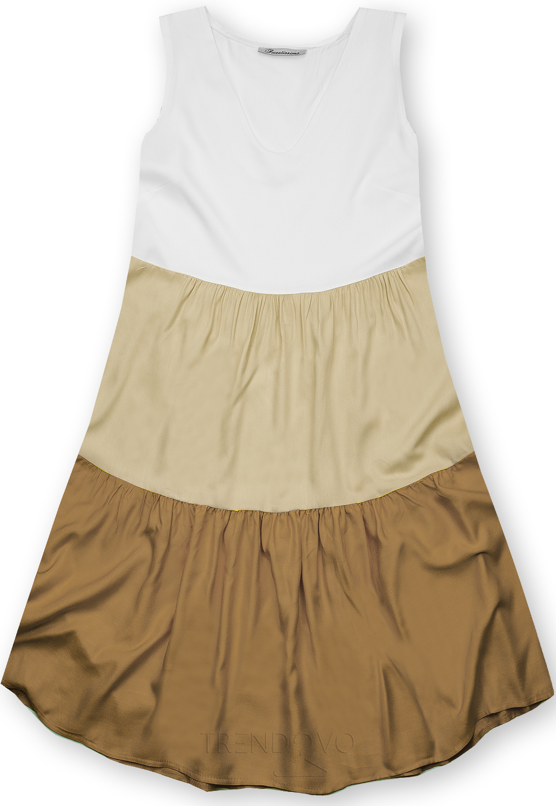Letní šaty z viskózy bílá/béžová/hnědá