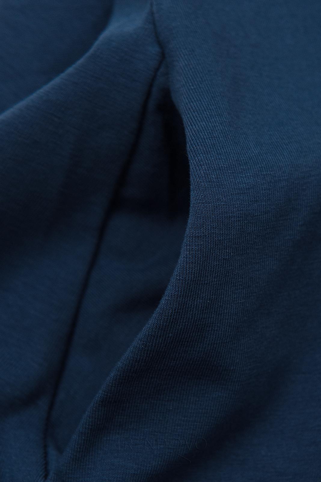 Tmavě modré šaty s nášivkou SUMMER