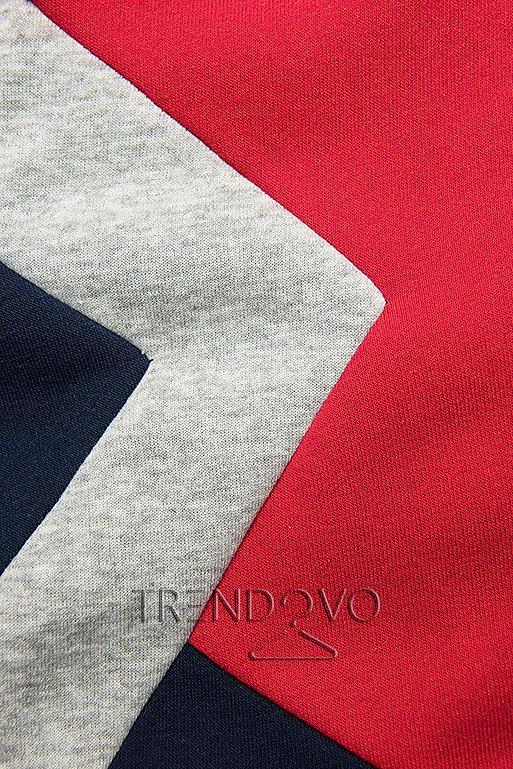 Prodloužená mikina modrá/červená/šedá