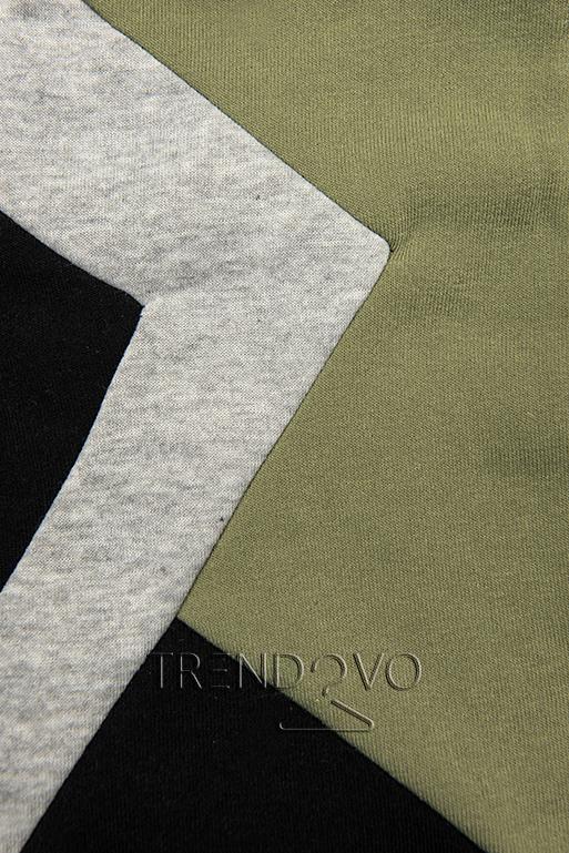 Prodloužená mikina černá/khaki/šedá