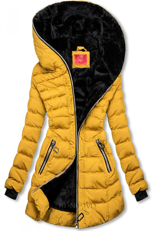 Zimní prošívaná bunda s kapucí žlutá