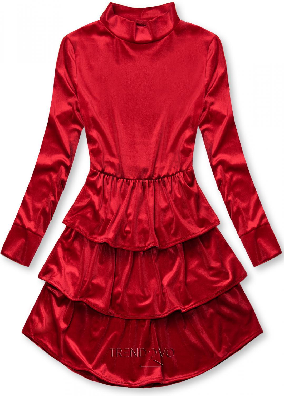 Červené sametové šaty s volány