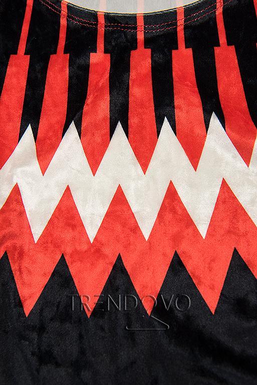 Červeno-modré sametové šaty