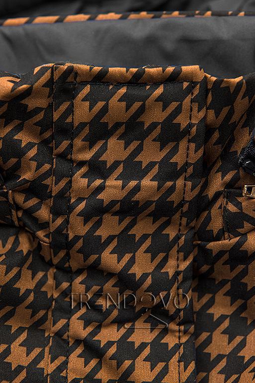 Přechodná parka s pepito vzorem hnědá/černá