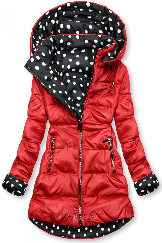 Oboustranná bunda červená/tečkovaná