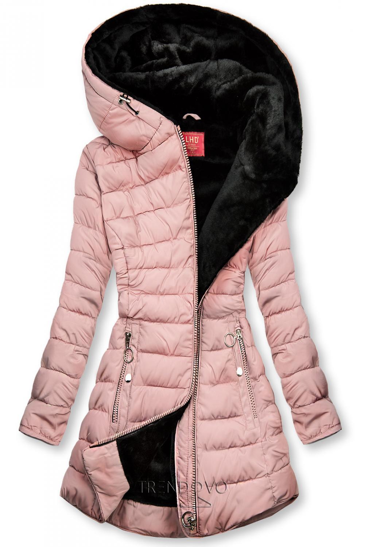 Růžová prošívaná bunda s černou plyšovou podšívkou