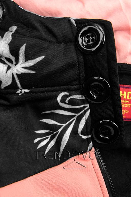 Černá prodloužená mikina s květinovým vzorem