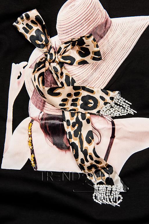 Černé dámské tričko s motivem klobouku