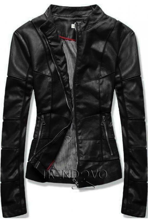 Černá koženková bunda s prošíváním