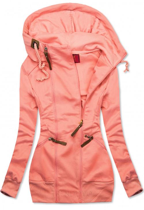 Lososovo růžová prodloužená mikina se zipy