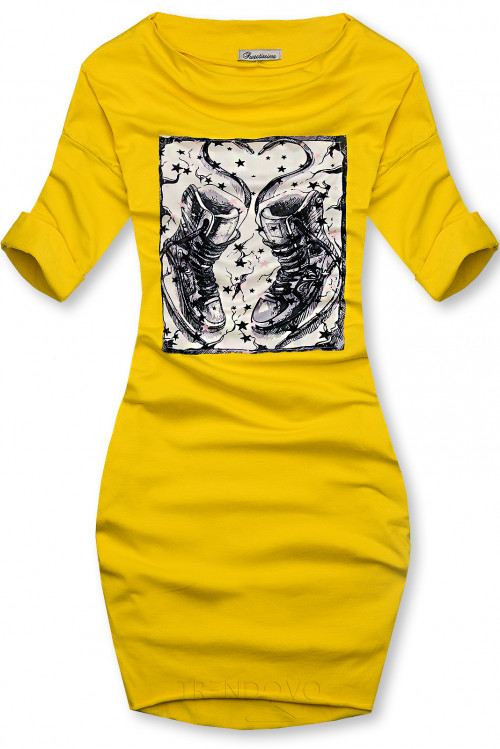 Žluté šaty s motivem tenisek