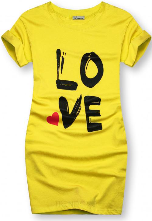 Tunika s potiskem LOVE žlutá