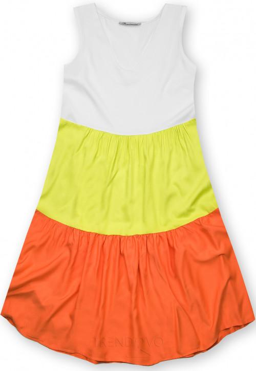 Letní šaty z viskózy bílá/hrášková/oranžová