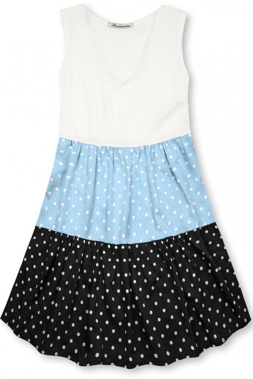 Tečkované šaty z viskózy bílá/modrá/černá