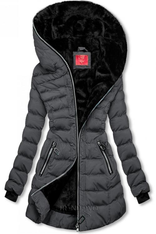 Zimní prošívaná bunda s kapucí tmavě šedá