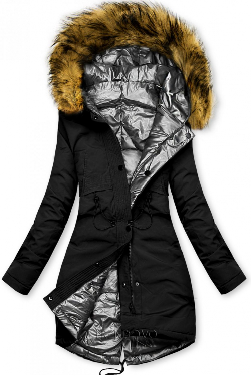 Černo-stříbrná oboustranná zimní bunda