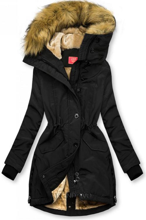 Černá zimní bunda s vysokým límcem