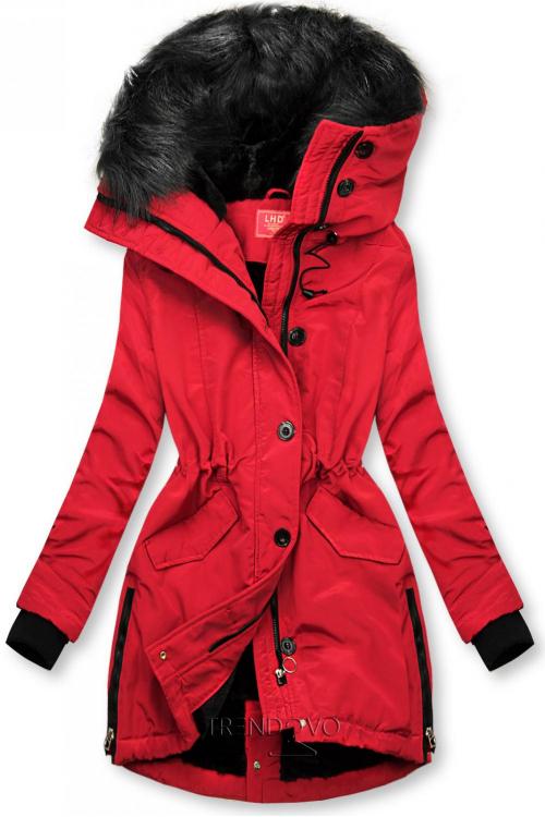 Červená zimní bunda s vysokým límcem