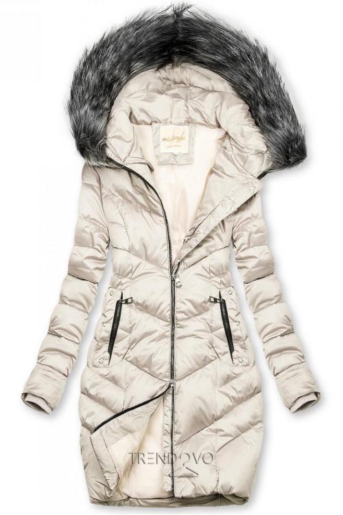Prošívaná zimní bunda krémová