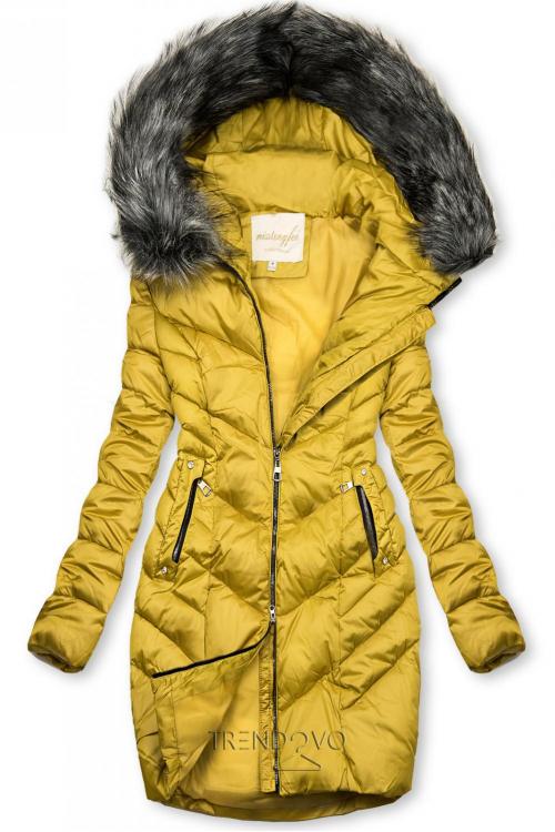 Prošívaná zimní bunda hořčicově žlutá