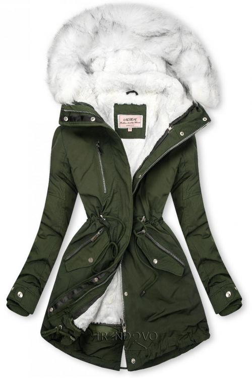 Zimní parka s odnímatelnou podšívkou khaki/bílá