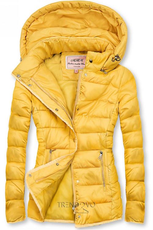 Žlutá prošívaná bunda na přechodné období