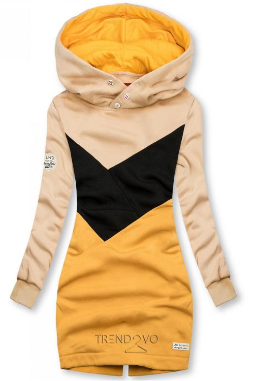 Mikina s oblékáním přes hlavu béžová/černá/žlutá