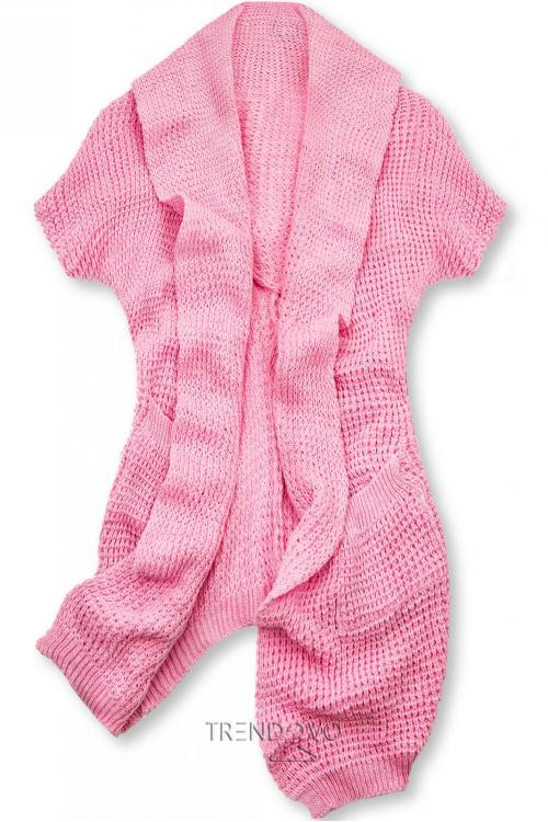 Růžový asymetrický pletený kardigan