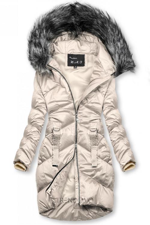 Krémová lesklá prošívaná bunda na zimu
