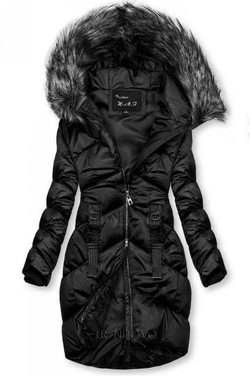 Černá lesklá prošívaná bunda na zimu