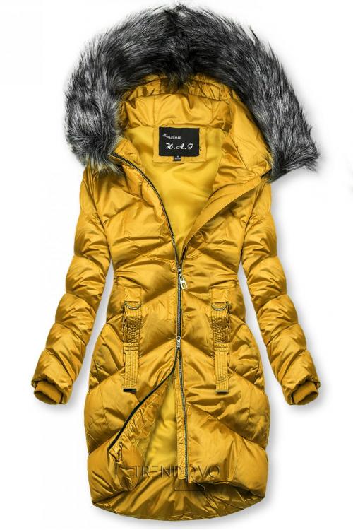 Mustard lesklá prošívaná bunda na zimu