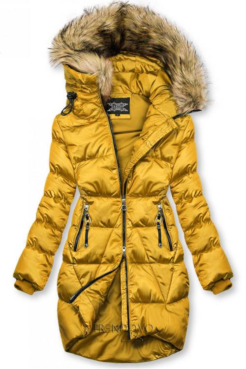 Mustard lesklá zimní bunda