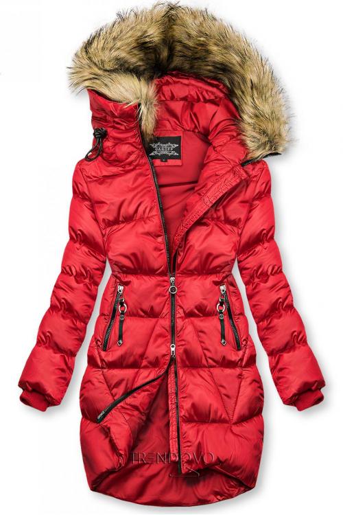 Červená lesklá zimní bunda