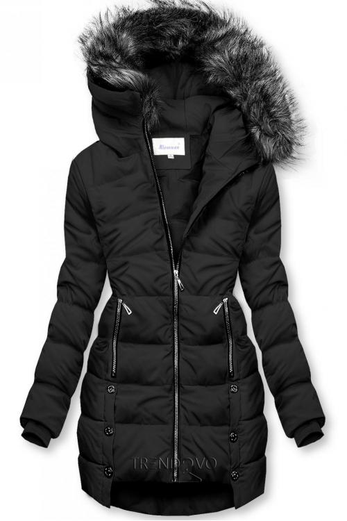 Černá prošívaná bunda na zimu