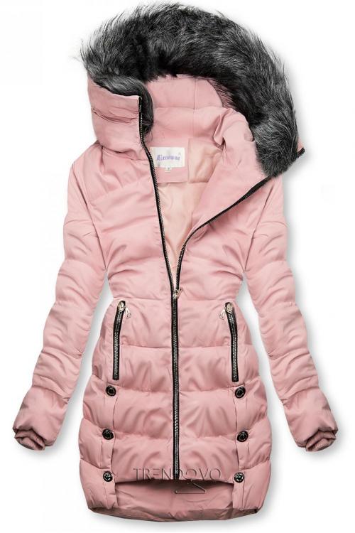 Růžová prošívaná bunda na zimu