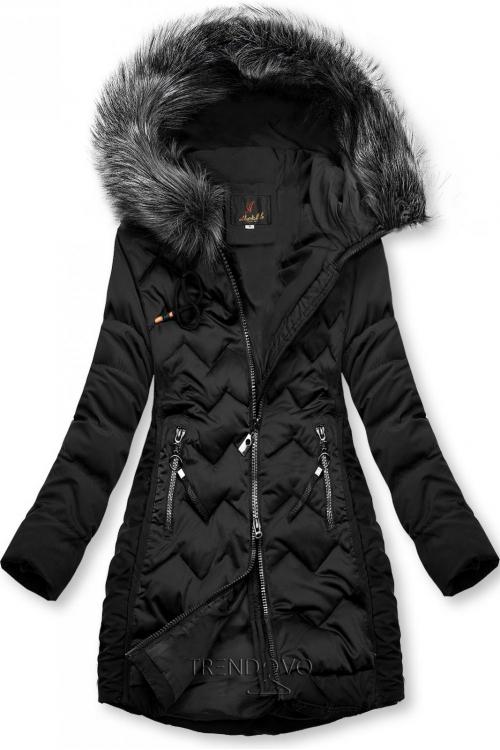Černá prošívaná bunda na období podzim/zima