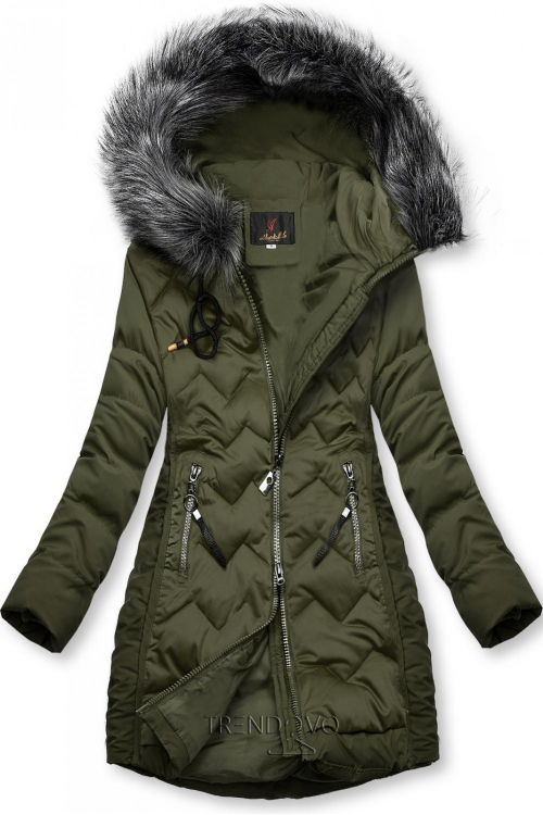 Khaki prošívaná bunda na období podzim/zima