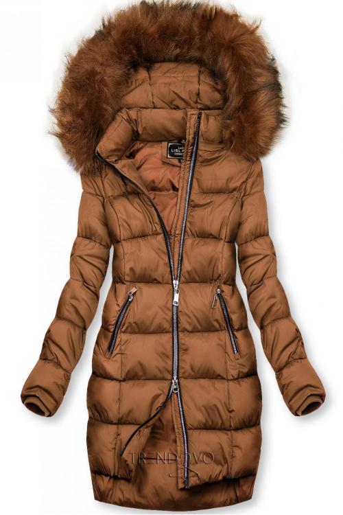 Hnědá zimní bunda na zip