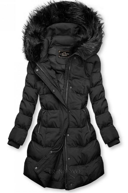 Černá zimní bunda s kapucí